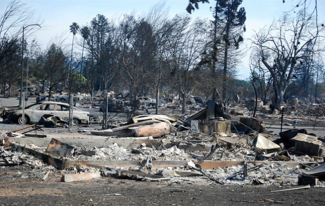 Damage from Sonoma wildfires in Santa Rosa